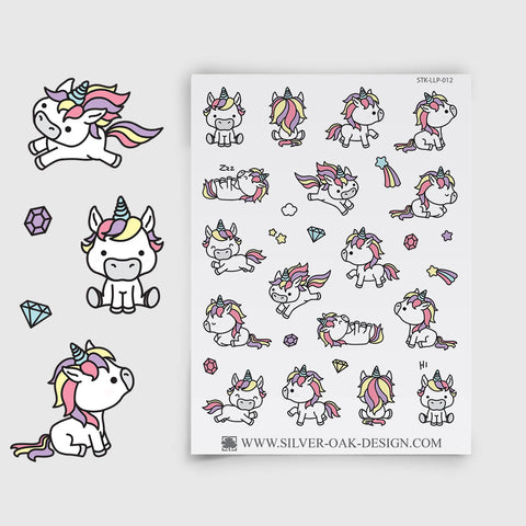 Cute Kawaii Unicorn Planner Stickers | LLP-012
