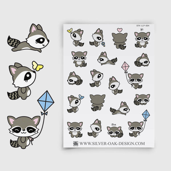 Cute Kawaii Raccoon Planner Stickers | LLP-004