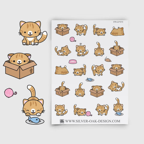 Orange Kawaii Kitten Planner Sticker | LLP-015