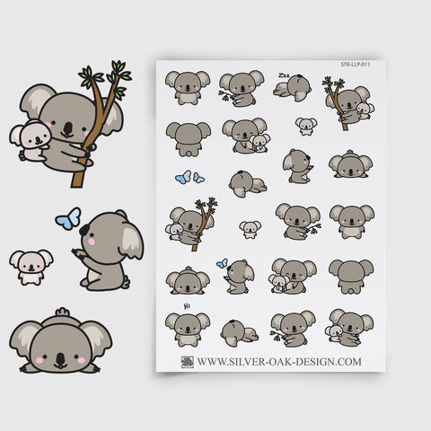 Cute Kawaii Koala Planner Stickers | LLP-011