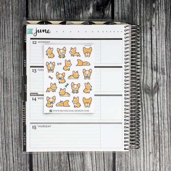 Cute Kawaii Corgi Planner Stickers | LLP-006