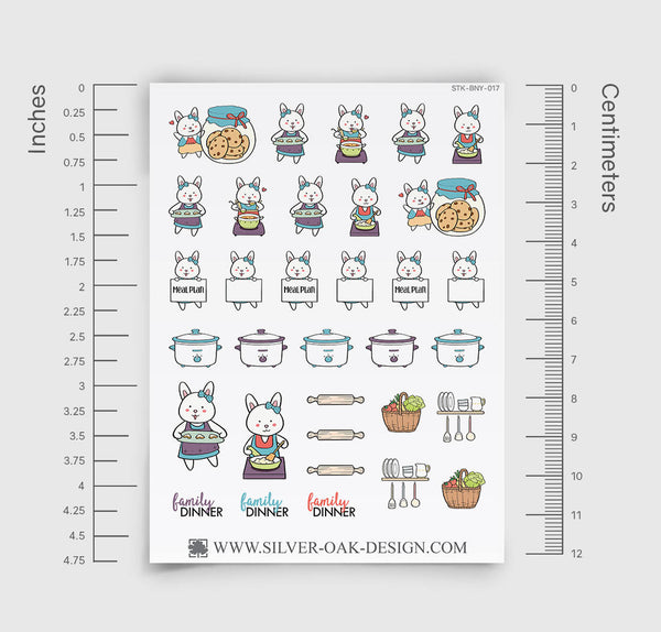 BNY-006 | Bunny Rabbit Meal Prep Planner Stickers