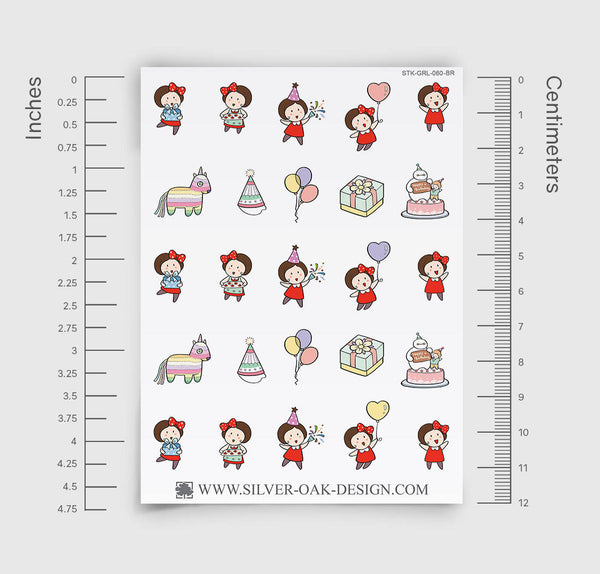 Birthday Party Planner Stickers | GRL-060