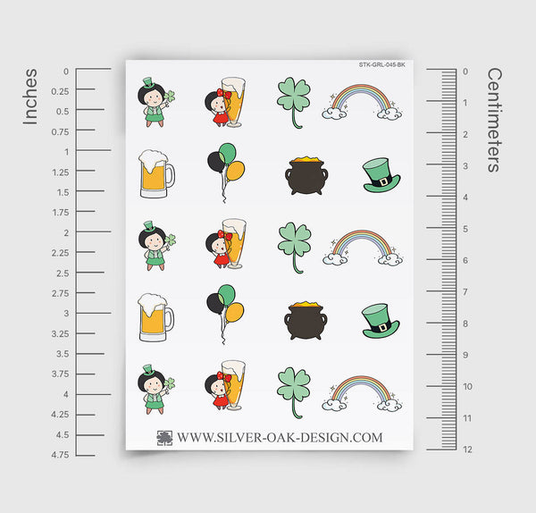 St. Patrick's Day Planner Stickers | GRL-045