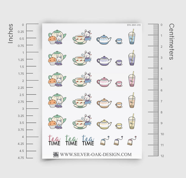Tea Time Planner Stickers | Bunny Rabbit | BNY-015