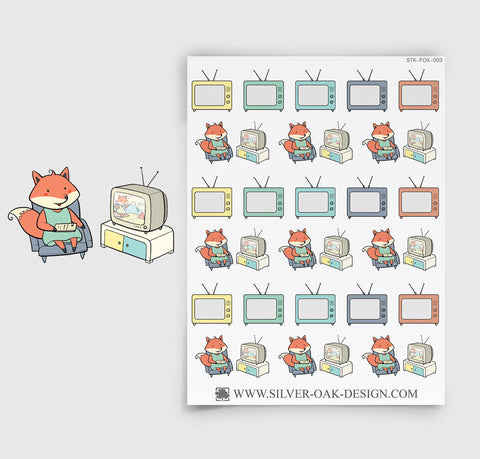 Watching TV Planner Stickers | Kawaii Fox | FOX-003