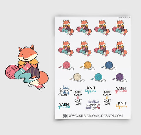 Knitting Planner Stickers | Kawaii Fox | FOX-004