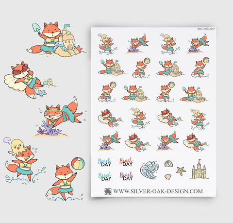 Beach Day Planner Stickers | Kawaii Fox | FOX-007
