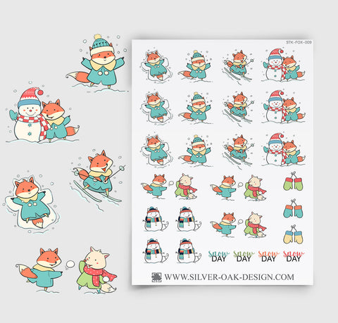 Snow Day Planner Stickers | Kawaii Fox | FOX-009