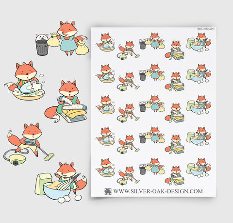 Household Chores Planner Stickers | Kawaii Fox | FOX-001