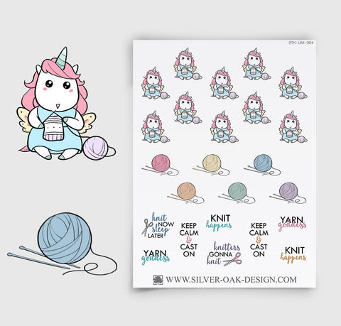 Knitting Planner Stickers | Kawaii Unicorn | UNI-004