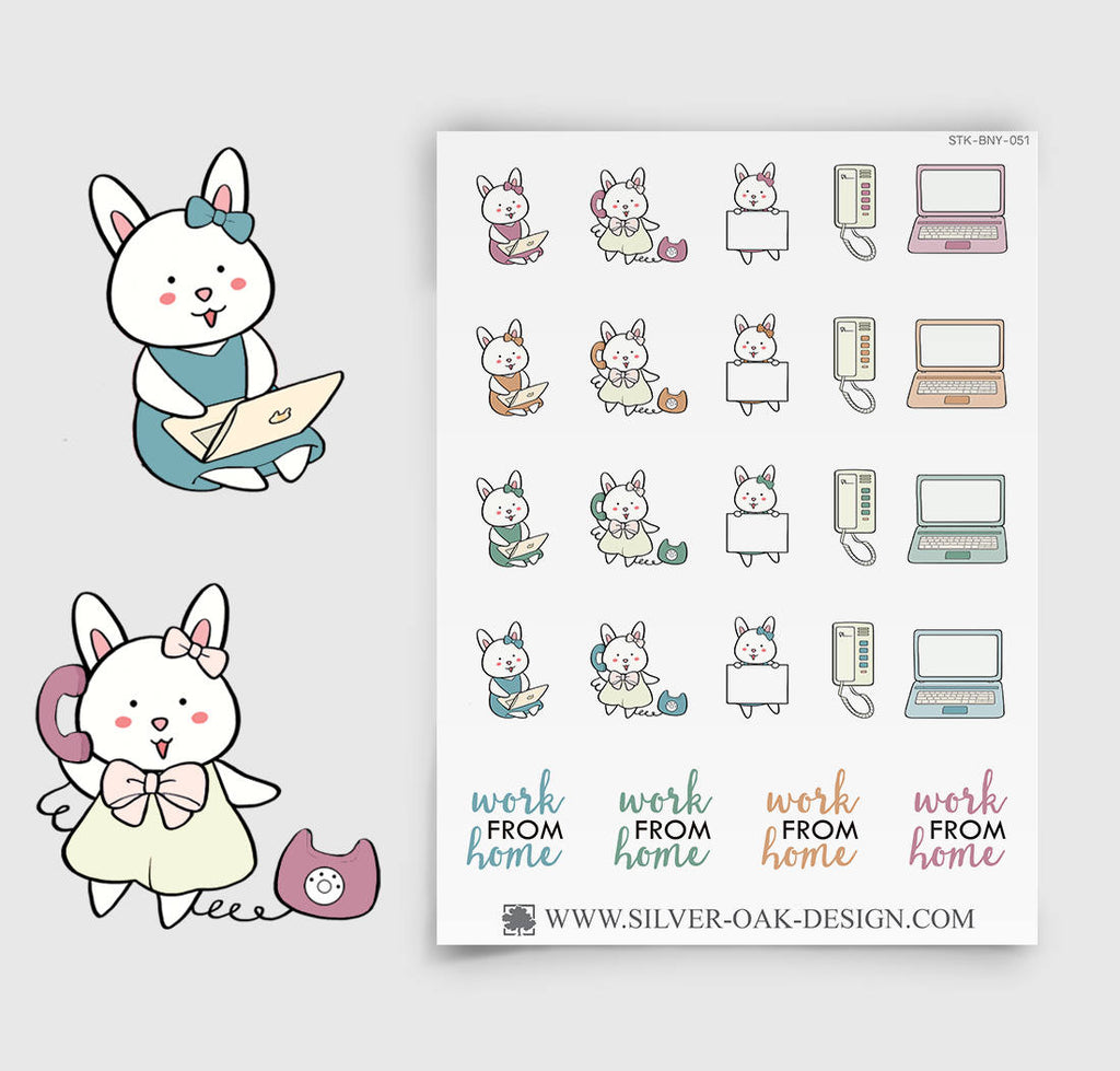 Work From Home Planner Stickers | Bunny Rabbit | BNY-051