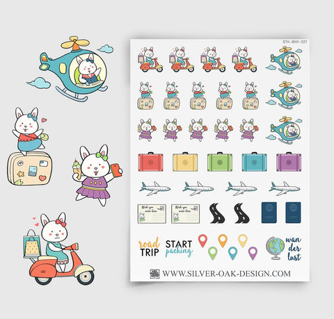Vacation Planner Stickers | Bunny Rabbit | BNY-021