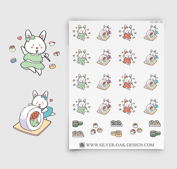 Sushi Planner Stickers | Bunny Rabbit | BNY-018