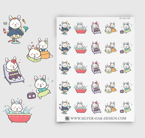 BNY-005 | Bunny Rabbit Self Care Planner Stickers