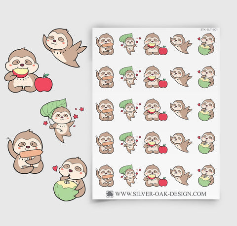 Cute Kawaii Sloth Planner Stickers | SLT-001
