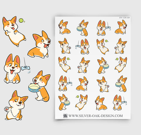 Cute Kawaii Welsh Corgi Planner Stickers | COR-001