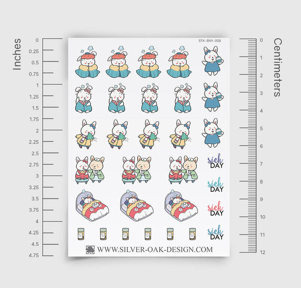 Sick Day Planner Stickers | Bunny Rabbit | BNY-008