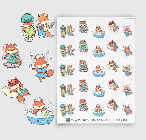 Self Care and Relaxation Planner Stickers | Kawaii Fox | FOX-005