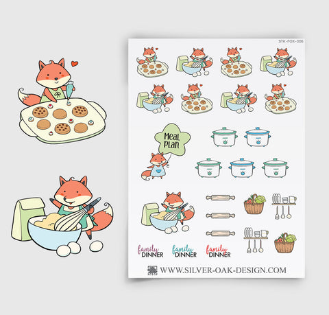 Cooking Meal Prep Planner Stickers | Kawaii Fox | FOX-006
