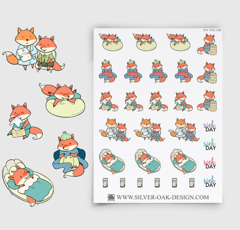 Sick Day Planner Stickers | Kawaii Fox | FOX-008