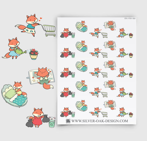 House Cleaning Planner Stickers | Kawaii Fox | FOX-002