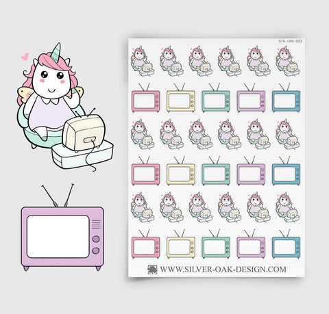 Watching TV Planner Stickers | Kawaii Unicorn | UNI-003