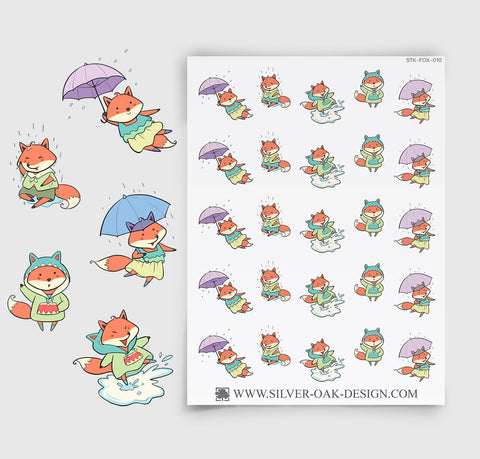 Bad Weather Rainy Day Planner Stickers | Kawaii Fox | FOX-010