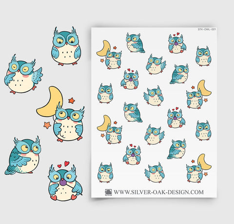 Cute Kawaii Owl Planner Stickers | OWL-001