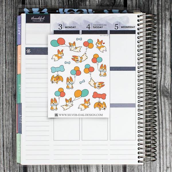 Corgi Balloon Planner Stickers | Corgi Butt | COR-002