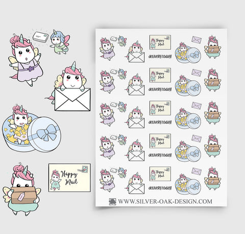 Happy Mail Planner Stickers | Kawaii Unicorn | UNI-011