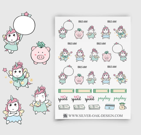 Financial Budget Planner Stickers | Kawaii Unicorn | UNI-013