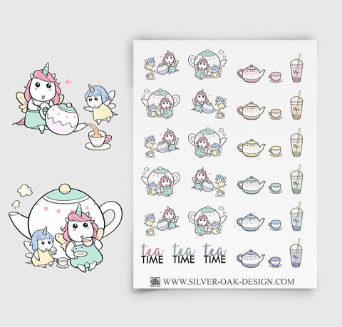 Tea Planner Stickers | Kawaii Unicorn | UNI-015