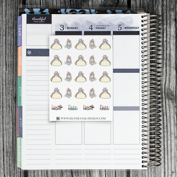 Taco Tuesday Planner Stickers | Kawaii Unicorn | UNI-017