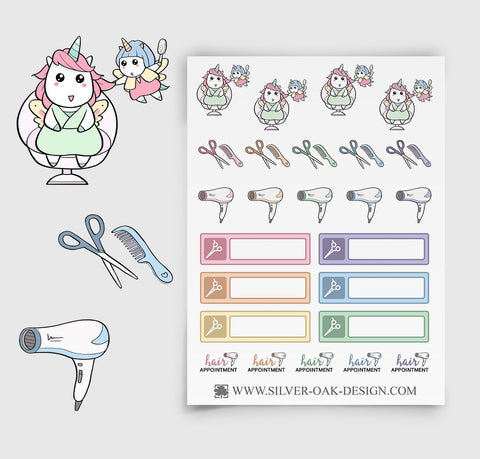Hair Appointment Planner Stickers | Kawaii Unicorn | UNI-020