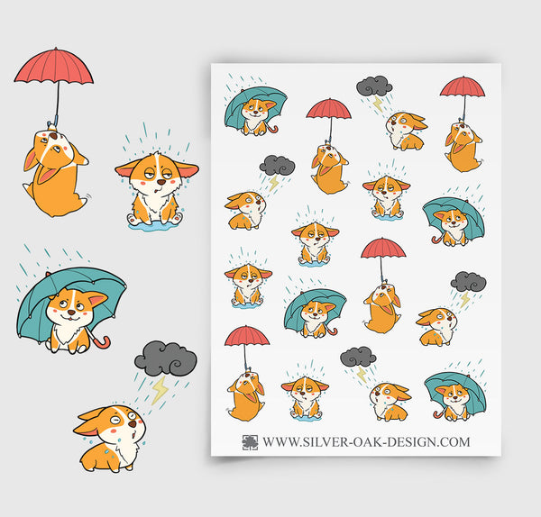 Corgi Rainy Day Planner Stickers | Weather | COR-010