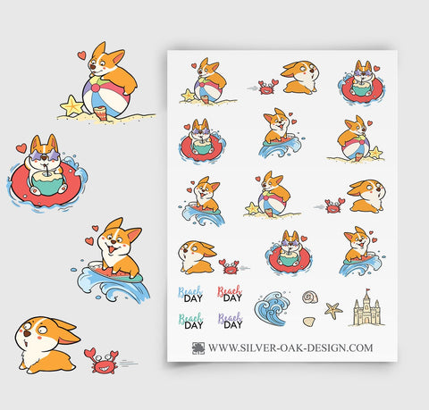 Corgi Beach Day Planner Stickers | Family Vacation | COR-009