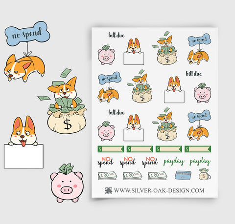 No Spend Budget Corgi Planner Stickers | Money | Bills | COR-008
