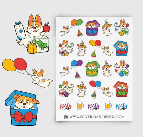 Corgi Birthday Party Planner Stickers | COR-006