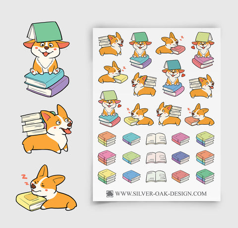 Corgi Reading Planner Stickers | Library Books | COR-005