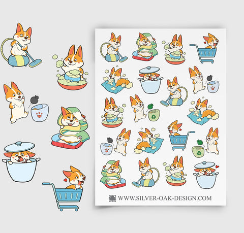 Corgi Housekeeping Planner Stickers | COR-003