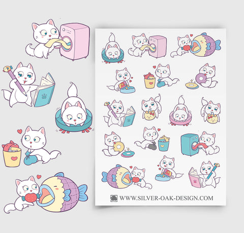 CAT-002 | Bella Kitty Cat Kawaii Housework Reminder Planner Stickers