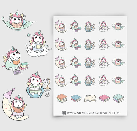 Reading Planner Stickers | Kawaii Unicorn | UNI-012