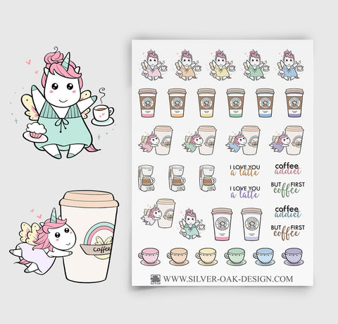 Coffee Planner Stickers | Kawaii Unicorn | UNI-014