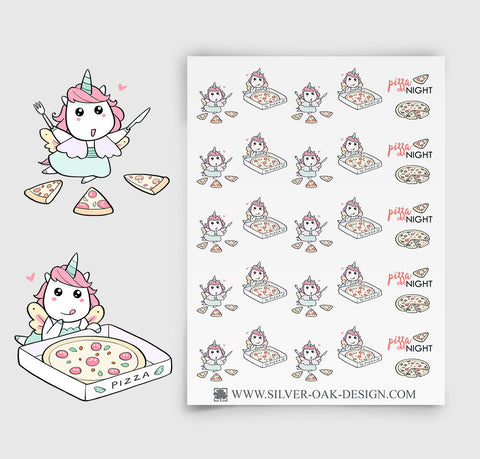 Pizza Planner Stickers | Kawaii Unicorn | UNI-016