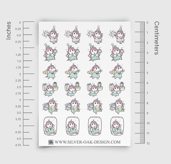 Party Planner Stickers | Kawaii Unicorn | UNI-019