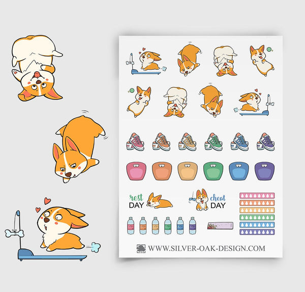 Corgi Exercising Planner Stickers | Workout | Gym | COR-012
