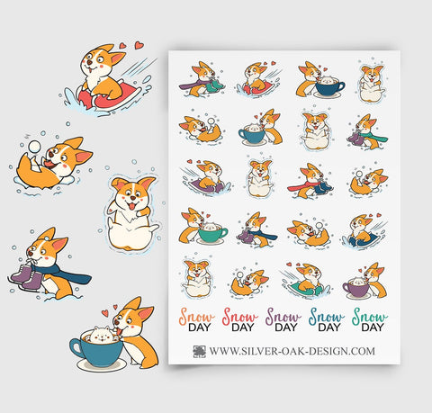 Corgi Snow Day Planner Stickers | Winter | COR-011