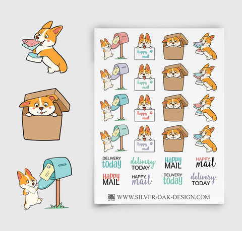 Corgi Happy Mail Planner Stickers | COR-007