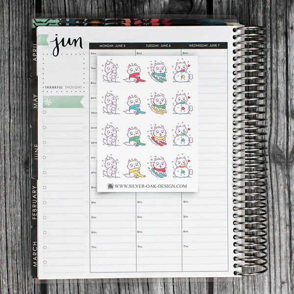 Kawaii Cat Snow Day Planner Stickers | CAT-007